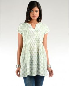 White Block Printed Tunic