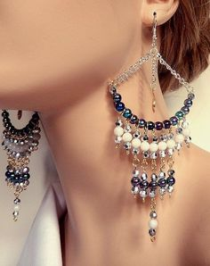 Large black and white chandelier dangle hoop long statement earrings gift for her beaded earrings belly dancer gypsy earrings Bead Jewellery, Beaded Jewelry, Jewelery, Chain Earrings, Statement Earrings, Earrings Handmade, Handmade Jewelry, Diy Collier, Diy Schmuck