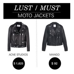 """Lust/Must: Moto Jackets"" by polyvore-editorial ❤ liked on Polyvore featuring Acne Studios, MANGO, motojacket and lustmust"