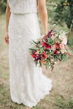 Red Wedding Bouquet by Joanne Truby Floral Design | M & J Photography | Dan Dolan Films | Limor Rose Norma Gown | Groom in A Suit That Fits | M & J Photography | Dan Dolan Films