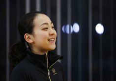 Japanese figure skater Mao Asada smiles during an interview at the National Training Center in Toyota