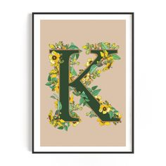Yellow Flowers Initial Letter Art Print - Beige - A3 - 29.7 x 42.0 cm (11.69 x 16.53 inch) / Y