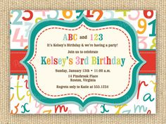 ABC 123 Birthday Party Invitation DIY Printable by PoofyPrints, $20.00
