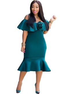 Front Rose Ruffle Off The Shoulder Fishtail Dress_Midi Dress_Dresses_Sexy Lingeire | Cheap Plus Size Lingerie At Wholesale Price | Feelovely.com