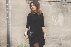 Black Dress & Studded Collar | Collage Vintage