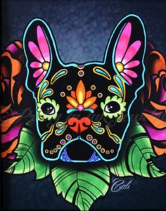 'Day of the Dead' French Bulldog Painting,