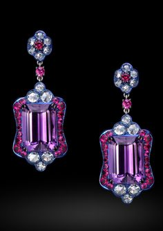 Carnet Pretty Passion earrings with diamond, amethyst, ruby and pink sapphire.