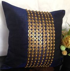 Dark Blue Throw Pillow with Gold Sequin & by TheWhitePetalsDecor