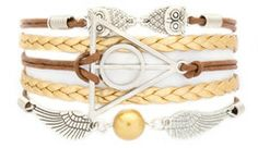 Deathly Hallows bracelet with a golden snitch at the bottom??  DOOOO WANT.