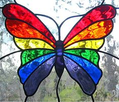 Hanging Panel Stained Glass | Rainbow Butterfly Stained Glass Hanging Window by LivingGlassArt