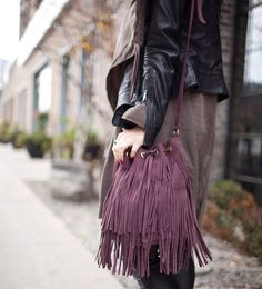 "193 Likes, 10 Comments - BRAVE Leather (@braveleather) on Instagram: ""Fringe anyone? - The Kipper suede bucket bag in wine. 💘 📷: @trendstruck #bemine"""