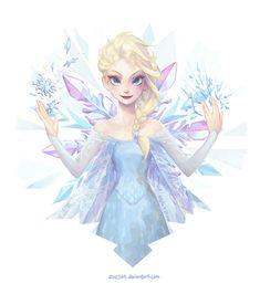 """princessesfanarts:  """"Crystalline - Queen Elsa by Zae369  """""""