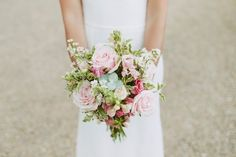 Pale pink rose bridal bouquet with eucalyptus - Stephanie Allin Bride And Maids To Measure Bridesmaids For A Scottish Castle Wedding At Wedderburn Castle With Groom In Tartan Suit And Images From David Jenkins Photography Pink Wedding Rings, Summer Wedding Bouquets, Diy Wedding Bouquet, Pink Wedding Dresses, Wedding Art, July Wedding, Civil Wedding, Wedding Ideas, Bridal Bouquets