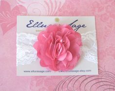 Puffy Hot Pink - Pink Satin and Tulle Flower Lace Headband - Infant Baby Toddler Girl Teen Women Photography Prop Wedding Flower Girl $6.95