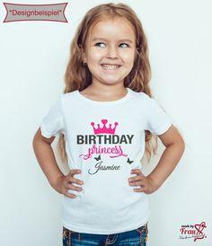 Birthday Princess mit eigenen Namen. Bügelbilder für ein einzigartiges Geburtstagshirt. Made by Frau S.