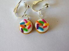 clips enfants boucles d'oreilles non percée clips donut beignet multicolore 2 : Boucles d'oreille par fimo-relie