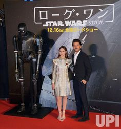 """Actor Diego Luna and actress Felicity Jones(L) attend the red carpet event for the film """"Rogue One : A Star Wars Story"""" in Tokyo, Japan on…"""