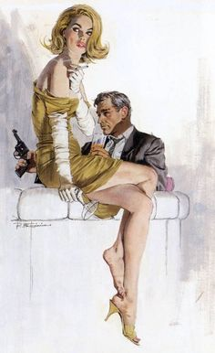 Bond drinking with a girl sitting on the counter.