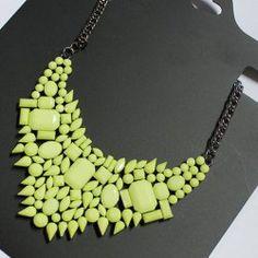 $6.36 Unique Candy Color Faux Gem Embellished Geometric Pendant Necklace For Women