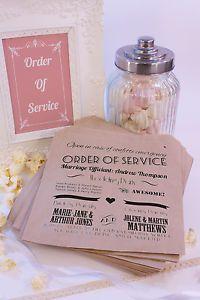 Personalised Retro Wedding Order Of Service Confetti Bags