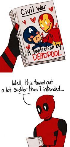 """""""Civil War: a Fanfiction by Deadpool"""" (Art by egobuzz)"""
