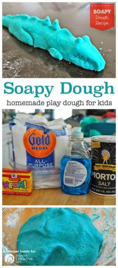 Soapy Dough Play Dough Recipe This fun kids craft is fun to make and fun to play with. Find the recipe for this homemade play dough on Today's Creative Life Fun Crafts For Kids, Projects For Kids, Diy For Kids, Cool Kids, Kids Fun, Art Projects, Easy Playdough Recipe, Homemade Playdough, Play Dough Homemade