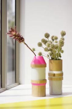 Vase empilable bois et céramique 145.00 EUR #adonde #design #vase #bois #ceramique #wood #ceramic #empilable #stackable #stoneware #modulable #france #espagne #spain