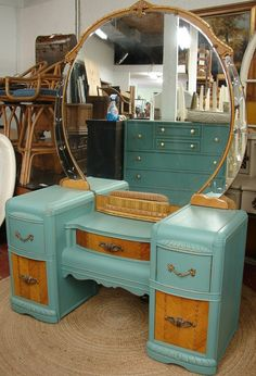 Beautiful Vintage Reclaimed Robin Egg Blue Painted Hollywood Art Deco Retro Vanity Dresser Cabinet (HAI) Call for SHIP QUOTE. $489.95, via Etsy.