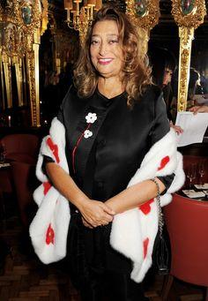 Zaha Hadid at L'Wren Scott's London Fashion Week dinner in 2013.