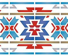 Native American Border Designs | Above and below - close up sections of the Aztec Border Stencil.