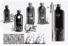 Ussurijskij-Balzam  Checkout this unique alcohol packaging from Russia for Ussurijskij-Balzam, with a set of beautiful sketches showing the design process.