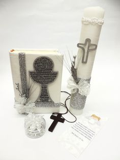 First Communion Latin American Bible Set w/Candle by CeremonyX