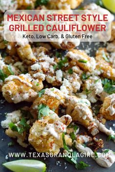This Mexican Street Style Grilled Cauliflower is what Texas summer flavors are all about! This easy cauliflower recipe is great for a BBQ or cookout side dish and perfect for entertaining! Quick, easy, low carb and keto…this one is going to become a go to Cookout Side Dishes, Keto Side Dishes, Veggie Dishes, Vegetable Recipes, Summer Cookout Sides, Rib Side Dishes, Mexican Side Dishes, Vegetable Sides, Easy Cauliflower Recipes