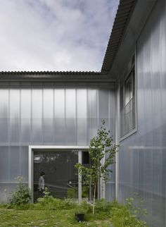 Yard House   Jonathan Tuckey Design, East Dulwich, London. The cement board roof acts as an impluvium, it directs rainwater into the courtyard garden and grasscrete.