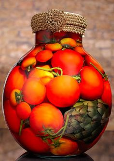 """Sarabella Tuscan Art Tomatoes on the Vine   :   """"One tomato, two tomato, three tomato, four…"""" The robust colors of this Bravo Jar filled with tomatoes on the vine, add in some artichokes and it makes us think of a harvest bounty. This will gather great comments when you display this striking decorative jar at your next meeting or event. gailmencini.com"""