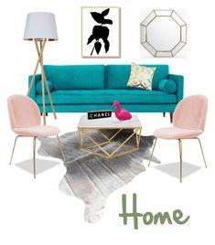 """Come sit down"" by cristina-gil-1 on Polyvore featuring interior, interiors, interior design, hogar, home decor, interior decorating, Joybird, Zara Home, Disaster Designs y Chanel"