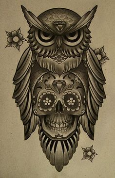 Owl and candy skull tattoo concept