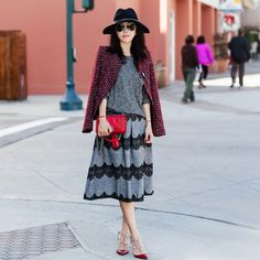 Basic Ribbed Knit Top in Grey, Lace Trimmed Pleated Twill Midi Skirt, CHICWISH collaboration, Tweed jacket, Zara Tweed jacket, Valentino 'Rockstud' T-Strap Pump, Chanel red boy bag, rag & bone Wide Brim Wool Fedora, Holiday style, 2014 Holiday dress, Lace midi skirt, Valentino rockstud pump