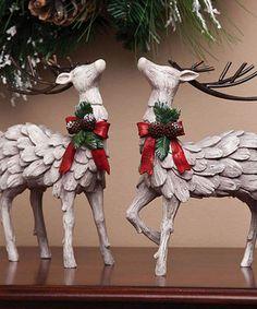 Loving this Decorative Christmas Deer Figurine Set on #zulily! #zulilyfinds