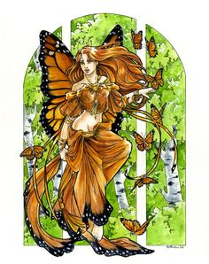 Monarch Dance by ~Hbruton on deviantART ~ fairy Fairy Pictures, Pretty Pictures, Fairy Land, Fairy Tales, Mermaid Board, Dragon Bird, Fairy Drawings, Butterfly Fairy, Old Images