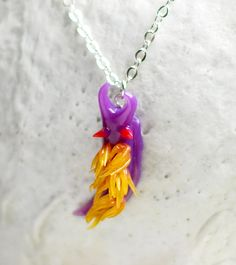 Purple Nudibranch Necklace Flabellina by indolentjellyfish