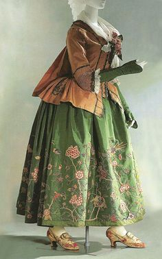 pink striped silk taffeta, compére stomacher, France, c. 1775, KCI