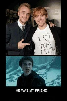 Tom Felton Draco Malfoy Ron Weasley Rupert Grint Harry Potter Daniel Radcliffe h. - Tom Felton Draco Malfoy Ron Weasley Rupert Grint Harry Potter Daniel Radcliffe h… - Humour Harry Potter, Images Harry Potter, Harry Potter Cast, Harry Potter Fandom, Harry Potter Universal, Harry Potter World, Funny Harry Potter Pics, Sassy Harry Potter, Harry Potter Memes Clean