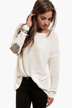 Glitter elbow patch sweater.