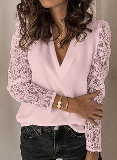 Basic Tops, Lace Sleeves, White Long Sleeve, V Neck Tops, Pattern Fashion, Shirt Blouses, Lace Shirts, T Shirt, Chiffon Tops