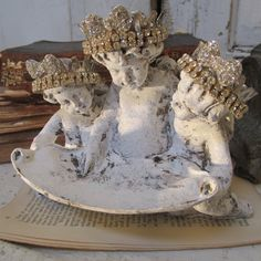 French Cherub statue trio with handmade crowns painted white and distressed vintage angels shabby cottage home decor anita spero