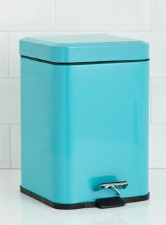 Bins Donu0027t Have To Be Boring  They Can Be Bright And Fun As This One Proves  6 Litre Rounded Square Pedal Bin Turquoise   Bins   Bathroom Accessories    For ...