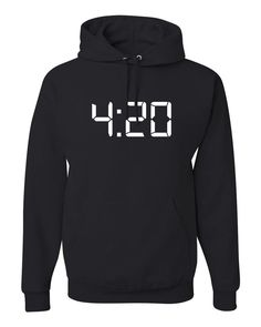 ShirtLoco Men's 420 Digital Clock Hoodie Sweatshirt, Black Extra Large