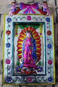 Tin Retablo Mexican Folk Art Niche Virgin of Guadalupe - Nuestra Señora - Oaxaca