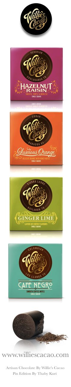 Artisan Chocolate Squares / Wllie's Cacao Cold seal packaging design for chocolate #chocolate #packaging for more information visit us at www.coffeebags.co.za